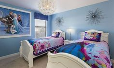 How amazing would our Anna and Elsa or Olaf Humidifiers look in this Frozen themed bedroom!?