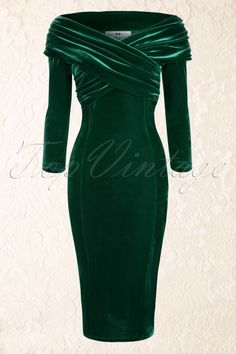 Collectif Clothing Hollie Velvet Green Wiggle Dress 16102 20150624 0016W