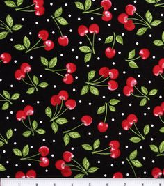 "Novelty Cotton Fabric - ""Dots with Cherries."""
