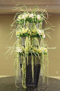 Cascading floral fountain by Crossroads Florist, Mahwah NJ
