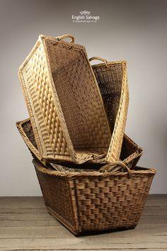 Old Useful Wicker Baskets / Hampers