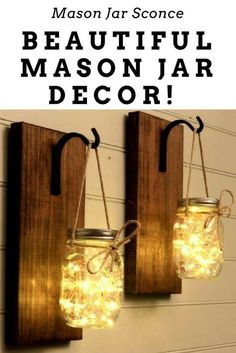 Mason Jar Sconce - Beautiful Mason Jar Decor! - Next time you're at Michaels, grab a cheap mason jar and copy this amazing DIY idea!