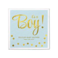 Cute Faux Gold Foil Confetti Boy Baby Shower Standard Cocktail Napkin