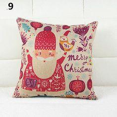 Home Decor Pillow Cover Xmas Merry Christmas-Santa Claus-Deer Cushion Cases