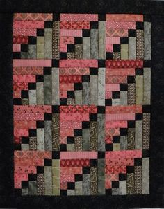 """Heartspun Quilts ~ Pam Buda """"Stepping Stones, designed by Phyllis Paul of Cozy Quarters. This quilt measures 11 x 14 inches, finished blocks. Patch Quilt, Strip Quilts, Easy Quilts, Small Quilts, Mini Quilts, Log Cabin Quilt Pattern, Log Cabin Quilts, Quilt Block Patterns, Pattern Blocks"""