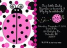 Pink and black ladybug party invitations,  personalized with your info