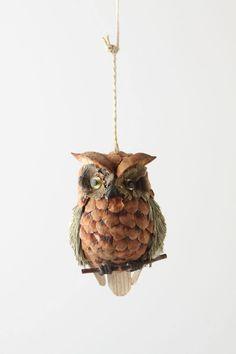 Bottlebrush Owl Ornament - anthropologie.com
