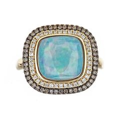 Anika and August 14k Yellow Gold Cushion-cut Ethiopian Opal and 1/2ct TDW Diamond Ring