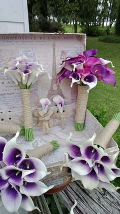 17 Piece Real Touch Purple White Calla Lily Wedding Bouquet Flower Set