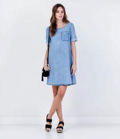 Vestido Jeans com Bolso - Lojas Renner