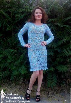 Купить Платье крючком - голубой, платье крючком, вязаное платье, вязаное платье крючком