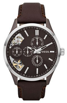 Fossil 'Twist' Leather Strap Watch available at Nordstrom