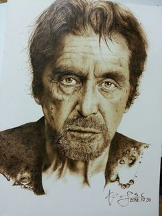 Al Pacino by Sucheol Gong Ice Sculptures, Soft Sculpture, Wood Burning Art, Al Pacino, Pyrography, Painting On Wood, Wood Art, Art Dolls, Burns
