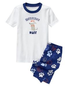 "Gymboree Boys Size 4 ""Mornings are Ruff"" 2-Pc Cotton Gymmies Shorts Pajama Set  #Gymboree #PajamaSets"