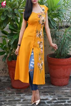 Buy Mustard Modal Rayon Cap Sleeves Patch Work Kurti Online in India Salwar Designs, Kurta Designs Women, Kurti Designs Party Wear, New Kurti Designs, Party Wear Kurtis, Neck Designs For Suits, Dress Neck Designs, Designs For Dresses, Blouse Designs