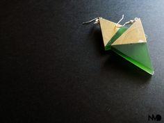 simple earrings. epoxy and wood.