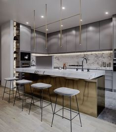 42 Stunning Modern Contemporary Kitchen Cabinet Design - Page 2 of 31 - KitchenRemodel. Kitchen Decor, Interior Design Kitchen, Kitchen Cabinet Design, Contemporary Kitchen Design, Kitchen Remodel, Contemporary Kitchen Cabinets, Trendy Kitchen, Modern Kitchen Design, Contemporary Kitchen