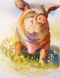 Sausage Patty, Pig Portrait, painting by artist Kay Smith