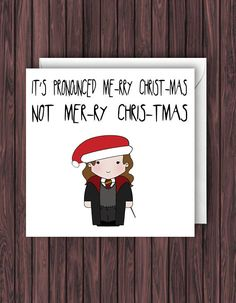 Hermione Christmas. Harry Potter Christmas card. Geek blank