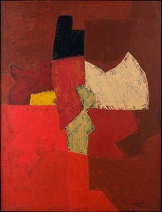 peinture russe abstraite : Serge Poliakoff, rouge sombre, 1953