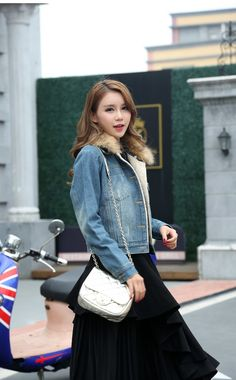f1e4a8c9b8f Forte couture denim jacket with fur