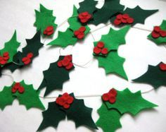 Holly Jolly Garland - Hand-stitched Holly Felt Garland - Christmas Garland - Green and Red Felt Garland - Christmas mantle decor - 8 ft long, Diy, Diy Christmas Garland, Christmas Arts And Crafts, Felt Christmas Decorations, Christmas Projects, Christmas Tree Ornaments, Holiday Crafts, Christmas Time, Christmas Mantles, Christmas Villages