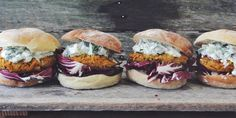 It's burger season and we're trying out all the recipes including these Carrot Tahini Burgers with Radicchio + Cucumber Tzatzi.