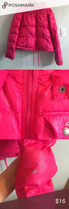 Hollister Hot Pink Coat Perfect winter jacket if you love hot pink. It's my sister's. I think it was hardly worn. There's a tiny blue pen mark and a silver marker mark but other than that, it's just a cleaned/washed jacket that was hardly worn. Hollister Jackets & Coats