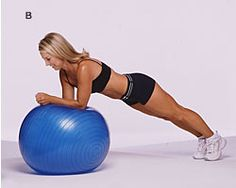 Change up your usual planks by adding the exercise ball