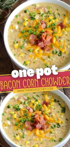 This loaded soup is what comfort food dreams are made of! Not only does this One Pot Bacon Corn Chowder make cleanup a breeze, but you also get to freeze a few bowls for easy weeknight meals. Your family will be requesting you to make it for dinner all winter long! Winter Dinner Recipes, Thanksgiving Recipes, Winter Dinner Ideas, Winter Meals, Easy Corn Chowder, Bacon Corn Chowder, Real Food Recipes, Soup Recipes, Cooking Recipes