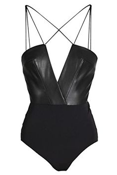 SANE Black Leather Bodysuit - Black body in smooth jersey by AQ/AQ featuring faux leather bodice with architectural deep plunging neckline and thin cross cord straps. Hidden zip closure to the back. *All measurements are in cm - The leotard is soft and st Black Leather Bodysuit, Black Bodysuit, Black Romper, Image Fashion, Look Fashion, Womens Fashion, Looks Black, Beachwear, Swimwear