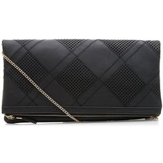 Black Diamond Perforated Fold Over Clutch ($23) ❤ liked on Polyvore featuring bags, handbags, clutches, chain handle handbags, foldover purse, fold over purse, fold-over clutches and fold over handbag