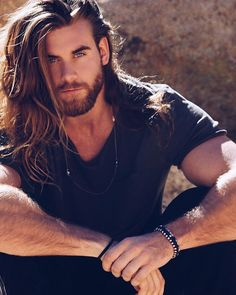 Have a good day. Brock O'Hurn ~ long hair and beard style. This man is gorgeous. I think long hair suits him best. Don't know if he's a model but if not, he definitely should be