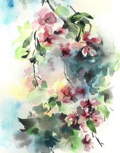 Watercolor Print, Blooming Branch Watercolor Painting Art Print, Floral Wall Art