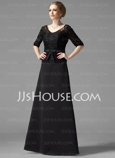 Mother of the Bride Dresses - Sheath V-neck Floor-Length Satin Mother of the Bride Dresses With Lace  Beading (008002216) http://jjshouse.com/Sheath-V-Neck-Floor-Length-Satin-Mother-Of-The-Bride-Dresses-With-Lace-Beading-008002216-g2216