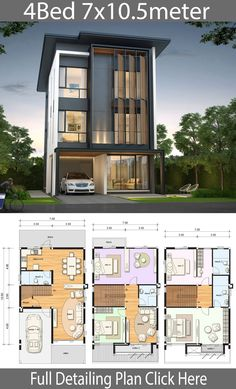 House design plan with 4 bedrooms House design plan with 4 bedrooms. Style ModernHouse description:Number of floors 3 storey housebedroom 4 roomstoilet 4 roomsmaid's room 4 Bedroom House Designs, Duplex House Design, Duplex House Plans, House Front Design, Small House Design, Modern House Design, Design Bedroom, Bedroom Decor, Modern House Floor Plans