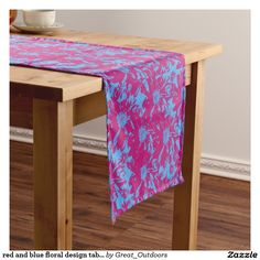 red and blue floral design table runner