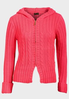 691eed655 Made from a knitted fabric Hooded neckline Zip-through fastening Long  sleeves Cable knit detail