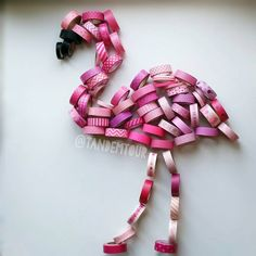 Fla'tape'o  thank you @constantly.flying for your help (my 'little' sister) ❤   Flamingo Washitape washisculpture
