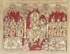 Ram Darbar - Kalamkari Folk Art Painting from Andhra Pradesh , India Kalamkari Painting, Madhubani Painting, Krishna Painting, Ancient Indian Art, Indian Folk Art, Kerala Mural Painting, Indian Art Paintings, Traditional Paintings, Traditional Art