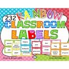 These classroom labels are in English.  Theme: Rainbow (7 different colors of polka dot backgrounds)  Also available in Yellow Polka Dots here....
