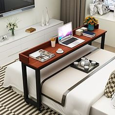 Overbed Table with Wheels, Tribesigns Mobile Desk with Heavy-Duty Metal Legs, Super Sturdy and Stable (Teak. Bed Table On Wheels, Home Bedroom, Bedroom Decor, Home Furniture, Furniture Design, Mobile Desk, New Room, Home And Living, Diy Home Decor