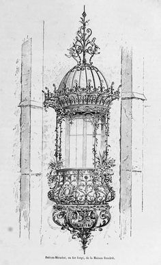 archimaps: A wrought iron balcony designed by Maison Baudrit, France Architecture Mapping, Architecture Drawings, Gothic Architecture, Architecture Details, Gravure Illustration, Illustration Art, Architectural Elements, Renaissance, Art Drawings