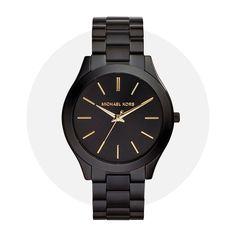 Michael Kors Slim Runway Black Mk3221 Michael Kors Watch, All Black, Monochrome, Runway, Slim, Watches, Gold, Accessories, Jewelry