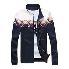 27.63$  Buy now - http://dibc3.justgood.pw/go.php?t=203604321 - Stand Collar Criss Cross Pattern Zip Up Jacket 27.63$