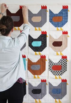 Chickens Quilt Pattern, a Fat Quarter quilt in 3 sizes Star Quilt Blocks, Strip Quilts, Quilt Block Patterns, Easy Quilts, Pattern Blocks, Fat Quarter Quilt Patterns, Owl Patterns, Patchwork Patterns, Quilt Baby