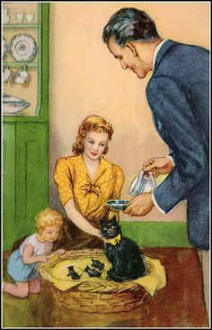"""Some new additions to the family! ~ Illustration from """"Tiptoes, The Mischievous Kitten"""", ca. 1950s"""