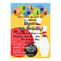 Shop Customizable Bowling Birthday Party Invitation created by wingding. Personalize it with photos & text or purchase as is! Invitation Paper, Custom Invitations, Invitations Online, Bowling Birthday Invitations, Boy Birthday Parties, Birthday Ideas, Birthday Cards, Bowling Pins, Party Ideas