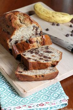 This Chocolate Chip Banana Bread recipe was inspired by a cover of Cooking Light magazine, which featured a beautiful Banana Bread with Chocolate Glaze.