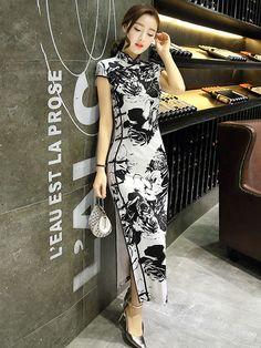 Contrast Floral Ankle-length Qipao / Cheongsam Dress